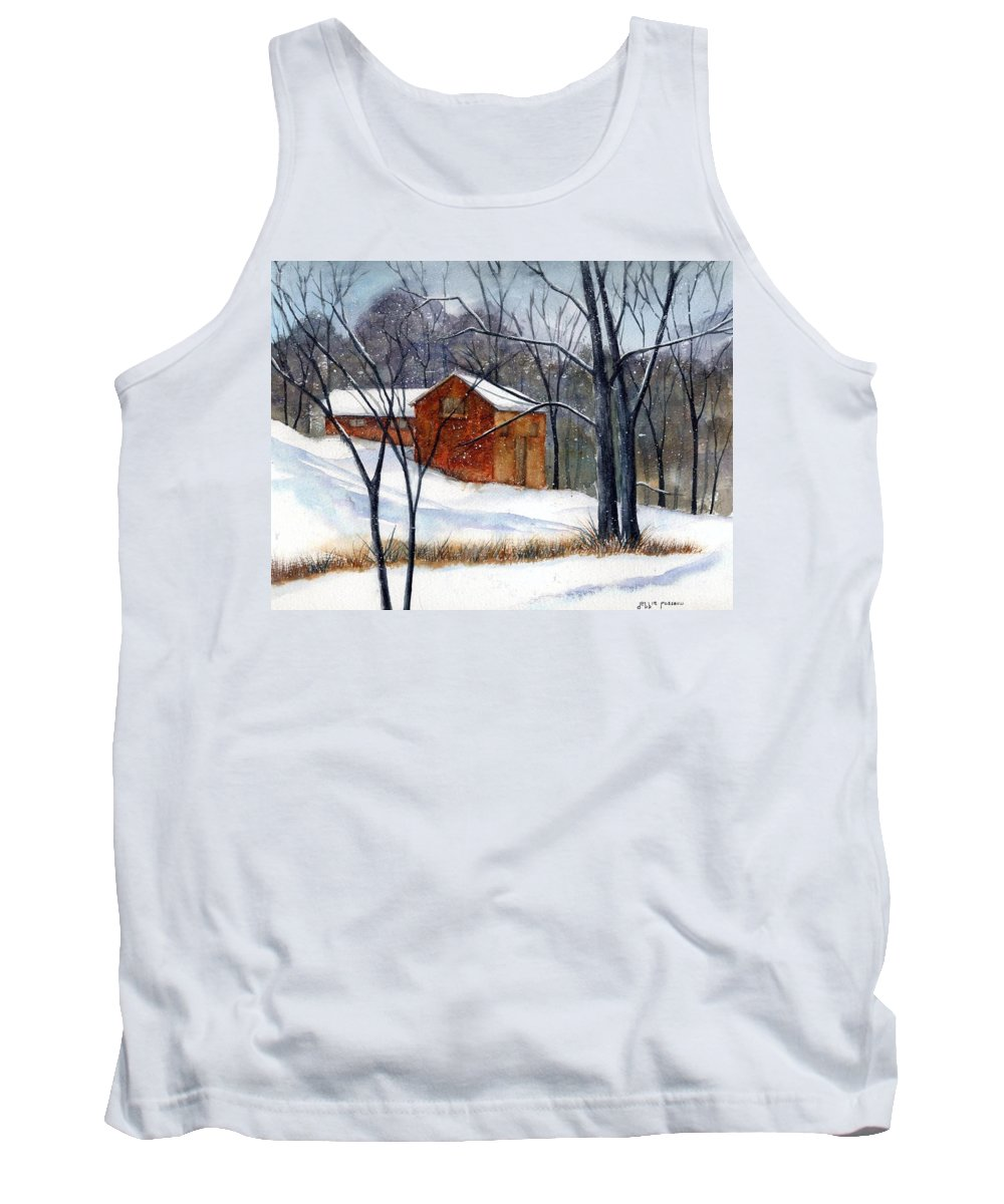 Cabin Tank Top featuring the painting Cabin In The Woods by Debbie Lewis