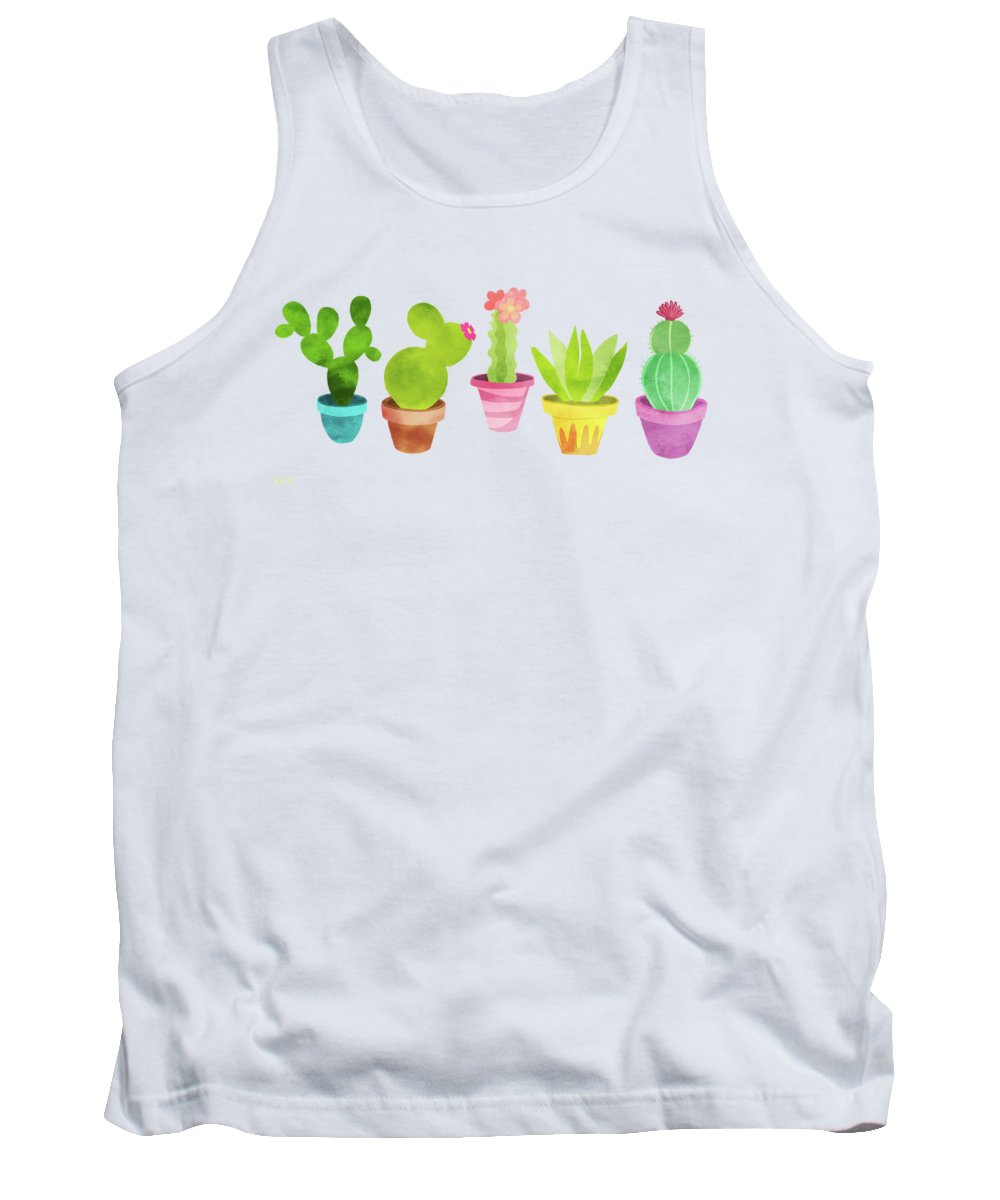 Cactus Tank Top featuring the painting Cactus Plants In Pretty Pots by Little Bunny Sunshine