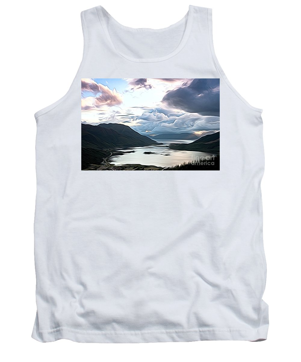 Cairngorn Scenic Cairngorm Landscape Mountains Lakes Scene Moody Art Artwork Oil Cairngorm Tank Top featuring the photograph Cairngorms by Andrew Michael