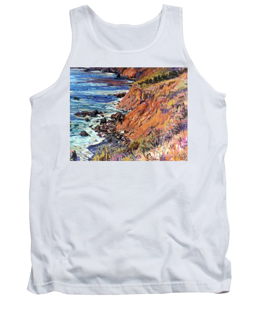 Big Sur Tank Top featuring the drawing California Coast by Donald Maier