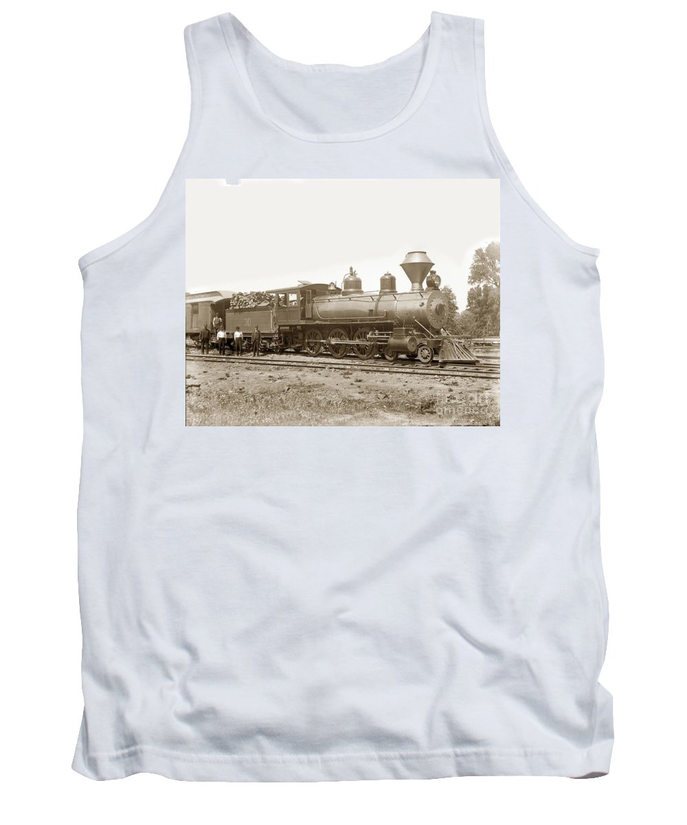 California Northwestern Tank Top featuring the photograph California Northwestern Railroad #30 4-6-0 Baldwin Locomotive Works Circa 1905 by California Views Archives Mr Pat Hathaway Archives