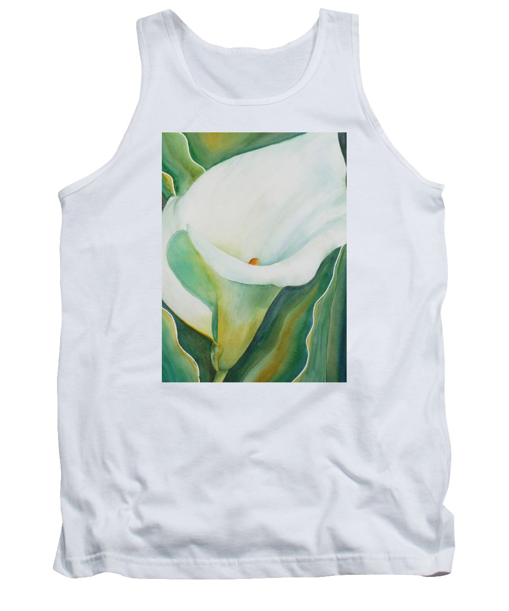 Flower Tank Top featuring the painting Calla Lily by Ruth Kamenev