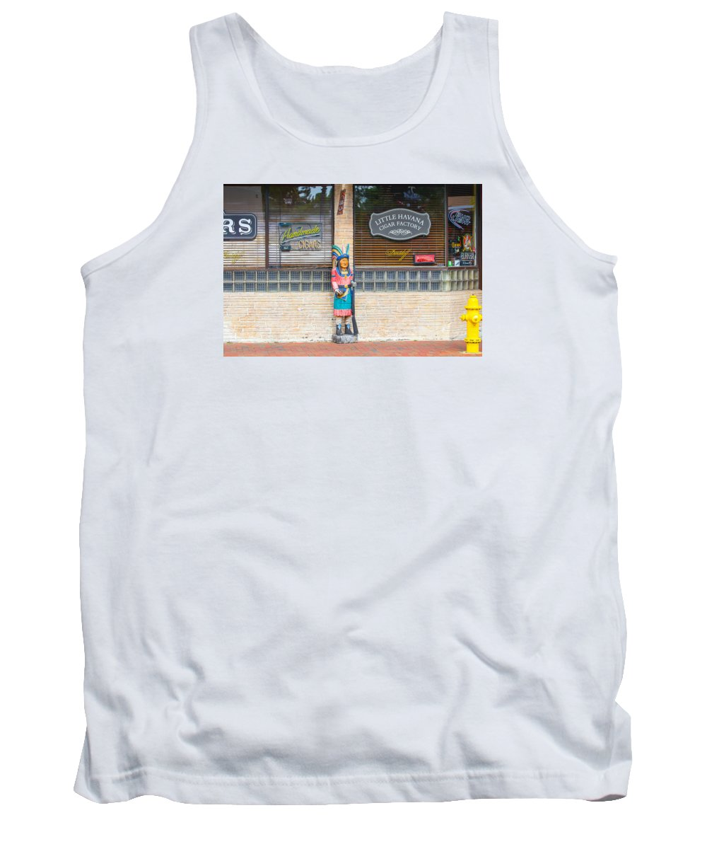 Calle Ocho Tank Top featuring the photograph Calle Ocho Cigar Indian by Dart and Suze Humeston