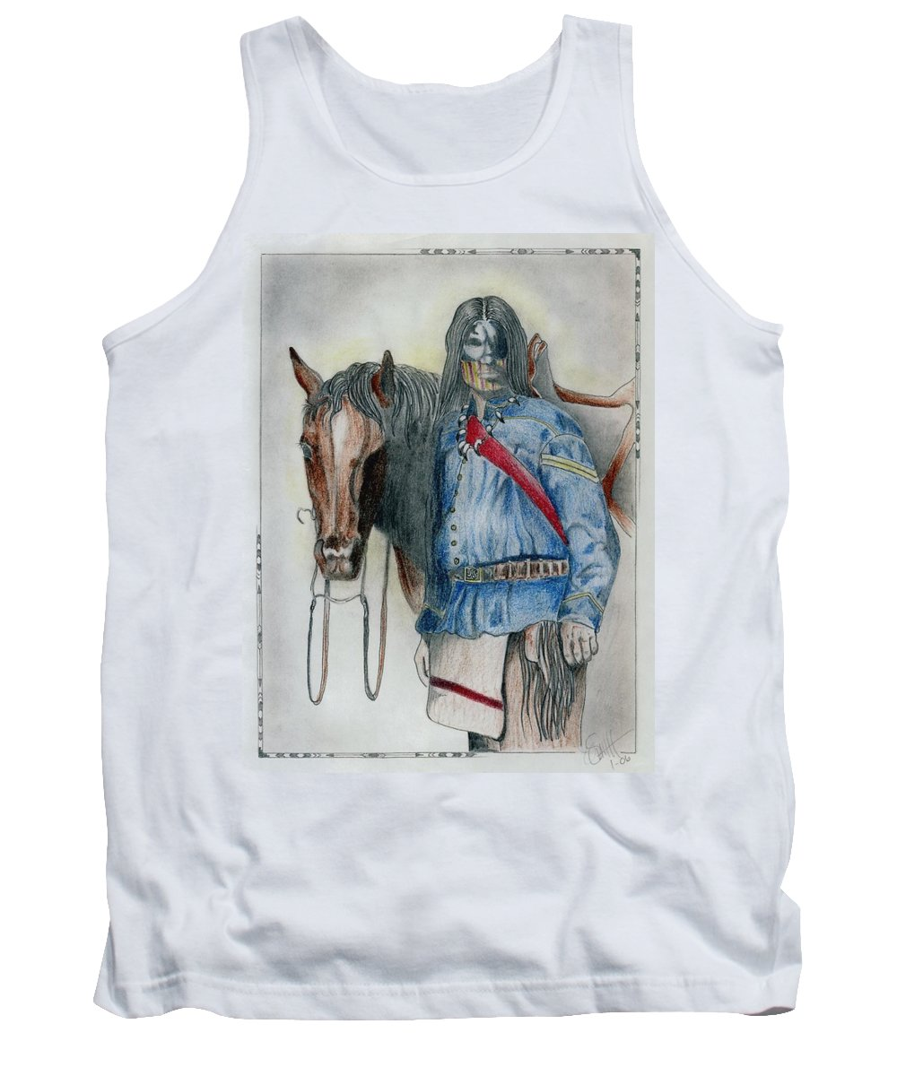 American Tank Top featuring the drawing Calvary Scout by Jimmy Smith