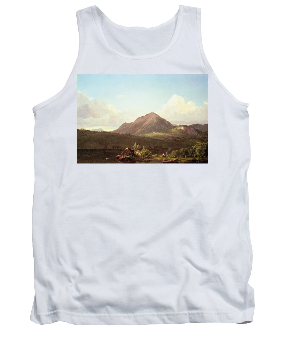 Camp Fire In The Maine Wilderness (oil On Canvas) By Frederic Edwin Church (1826-1900) Tank Top featuring the painting Camp Fire In The Maine Wilderness by Frederic Edwin Church