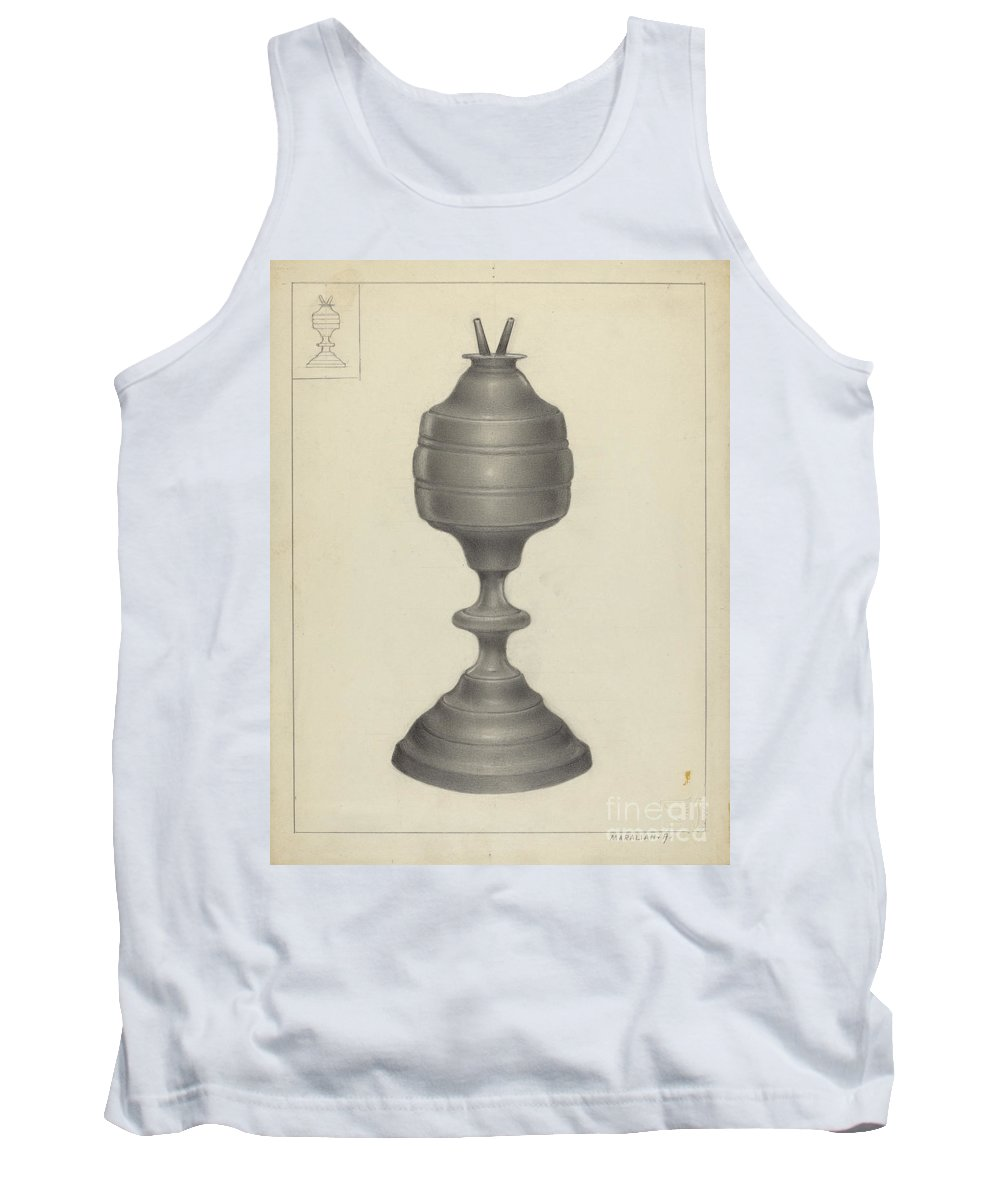Tank Top featuring the drawing Camphene Lamp by Arsen Maralian
