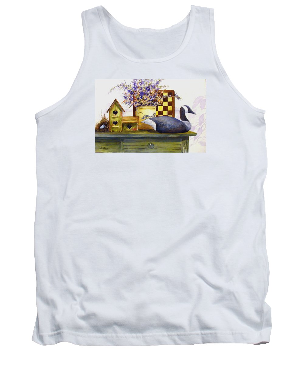 Canada Goose;birdhouse;bird Nest;crock;checkerboard;still Life;country Still Life; Tank Top featuring the painting Canada And Checkerboard by Lois Mountz