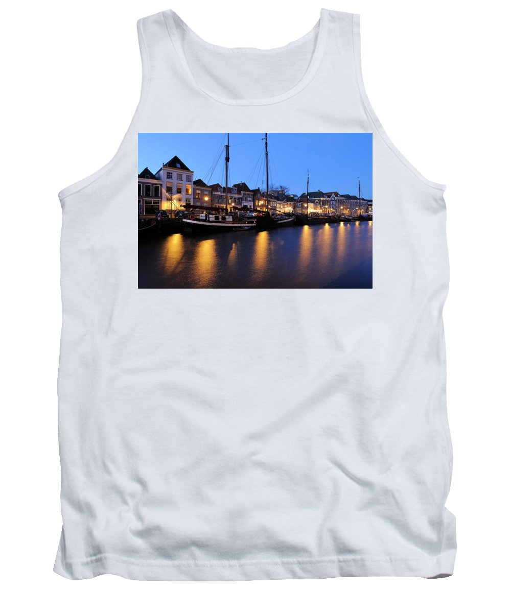 Thorbeckegracht Tank Top featuring the photograph Canal Thorbeckegracht In Zwolle In The Evening by Merijn Van der Vliet