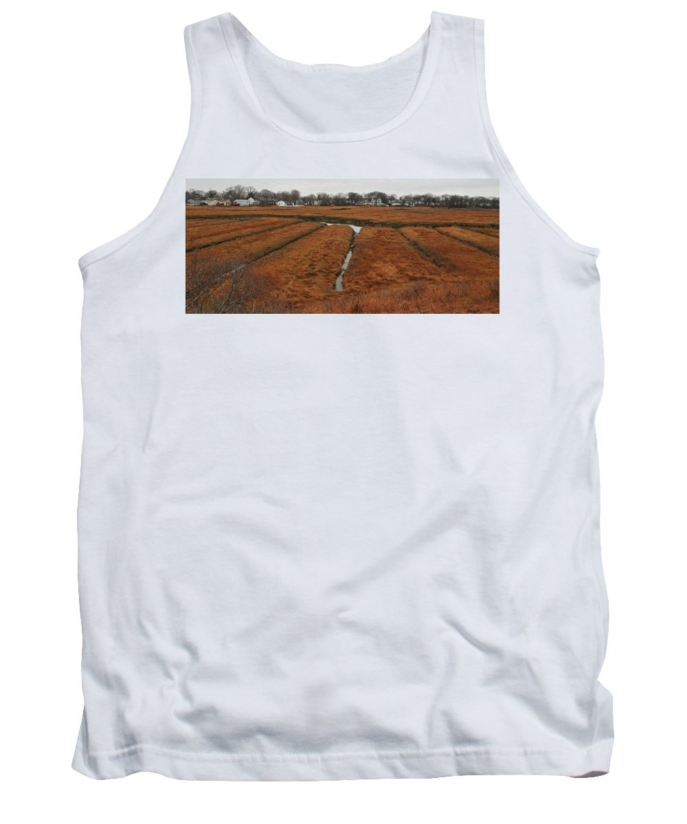 Canals To The River On The Salt Marsh Rock Island Houghs Neck Quincy Ma Tank Top featuring the photograph Canals To The River by Bill Driscoll