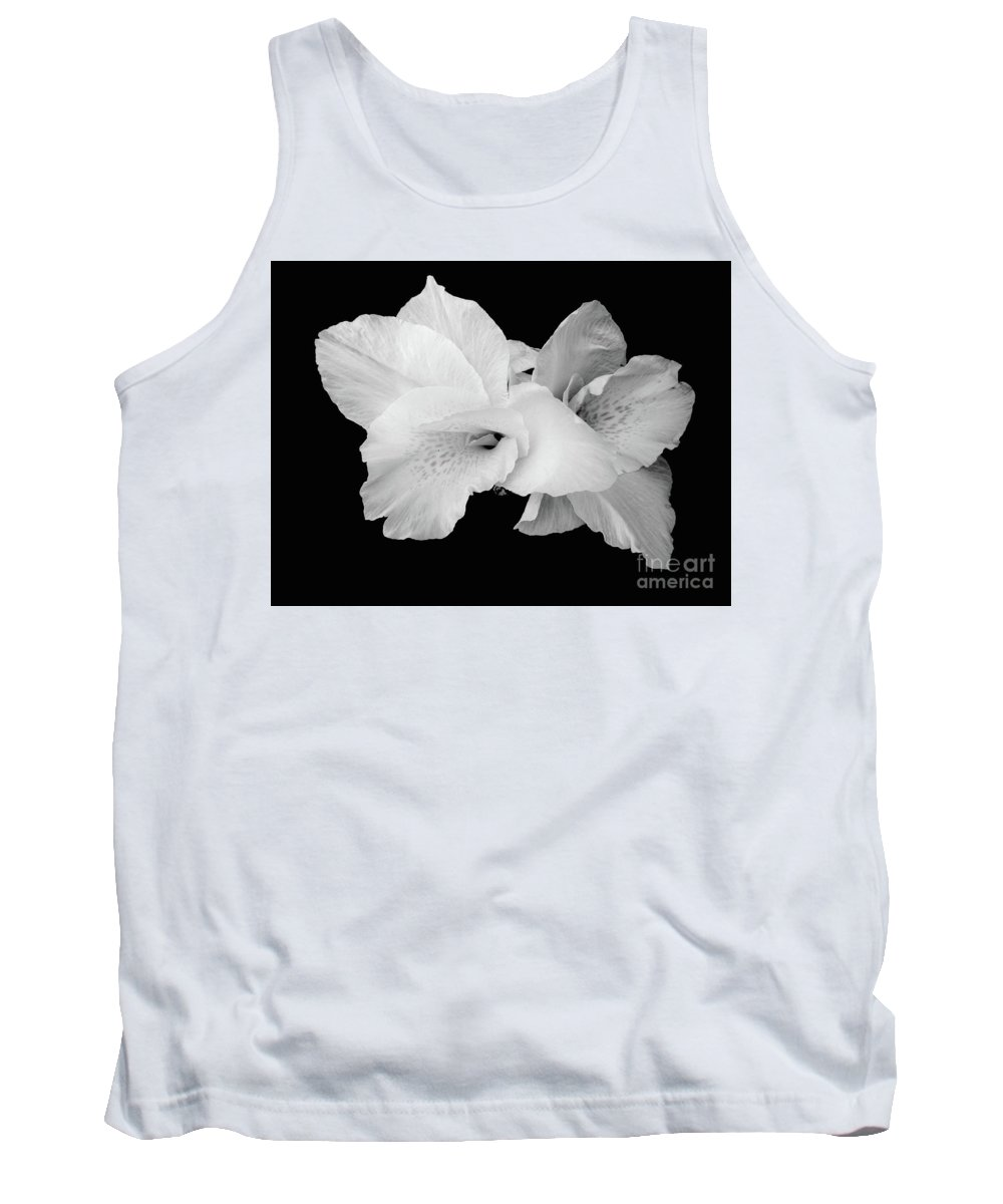 Nature Tank Top featuring the photograph Canna Lily In Black And White by Loreta Mickiene
