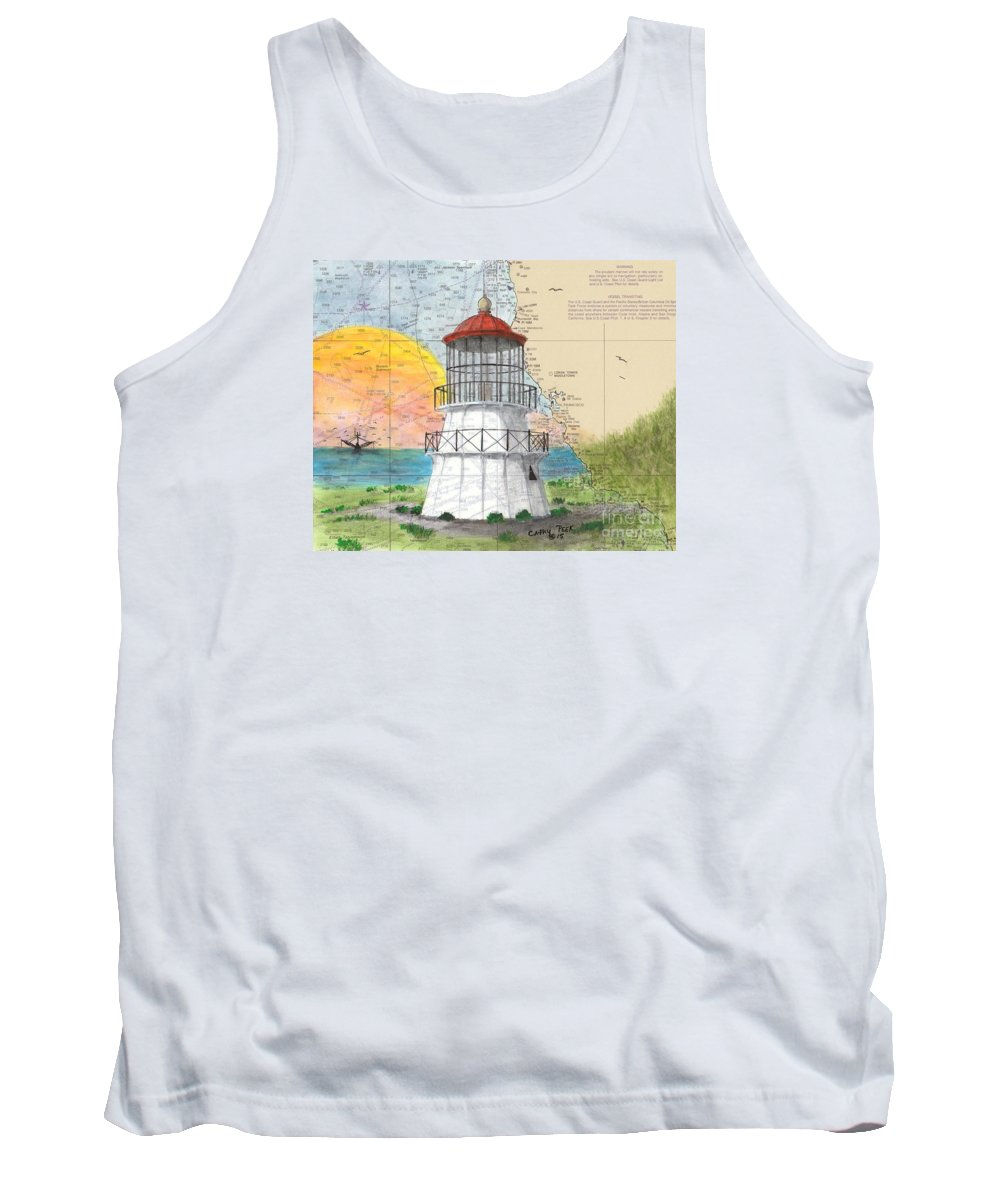 Cape Tank Top featuring the painting Cape Mendocino Lighthouse Ca Nautical Chart Map by Cathy Peek