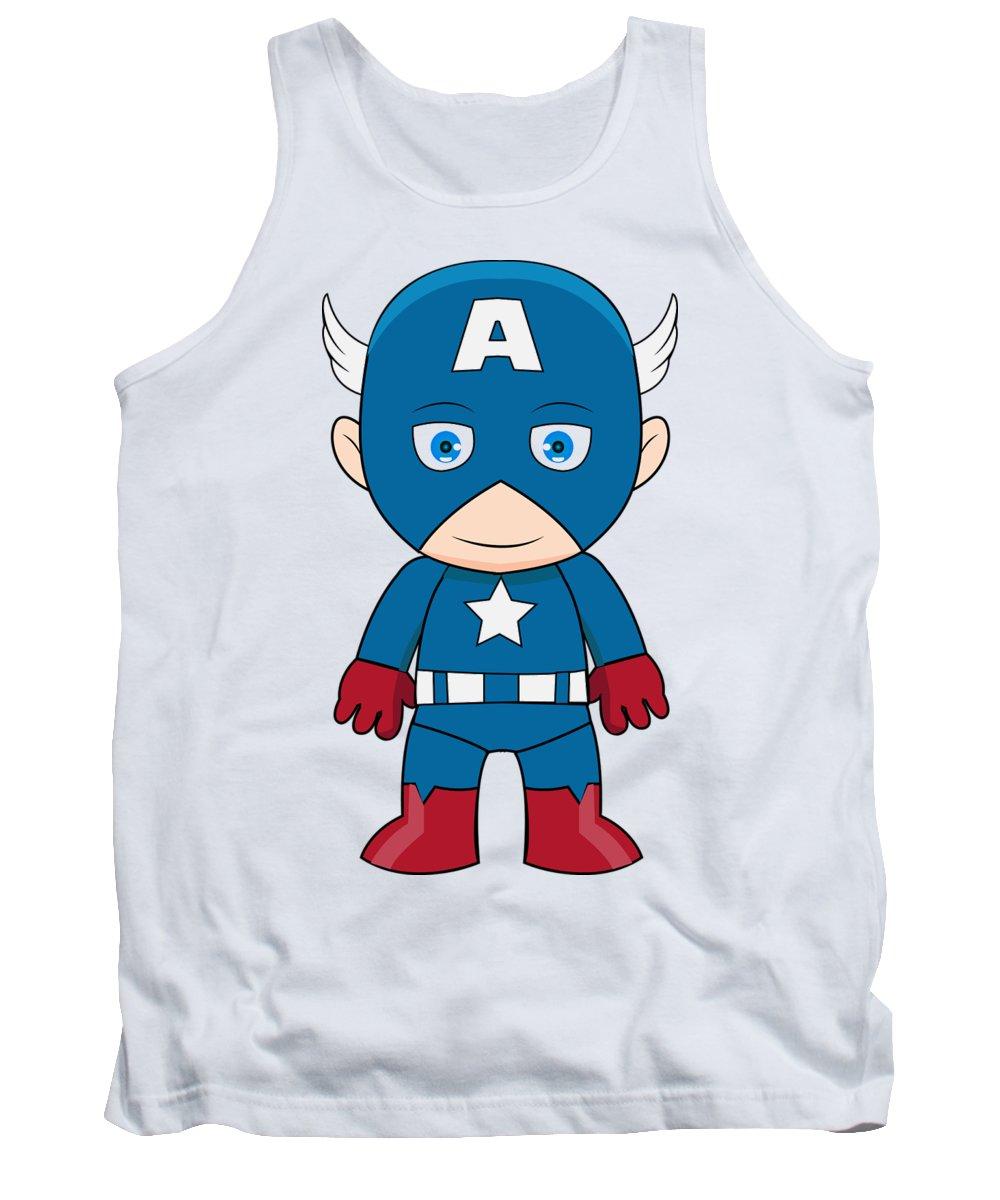 Cartoon Tank Top featuring the digital art Captain America by Anoop D Kulkarni