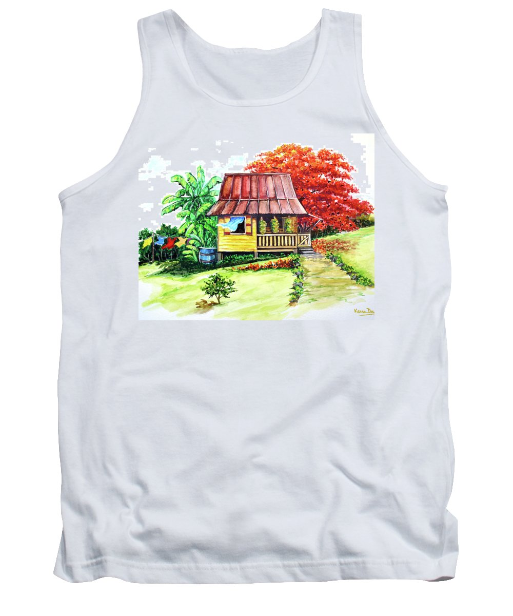 Old House Tank Top featuring the painting Caribbean House On The Hill by Karin Dawn Kelshall- Best