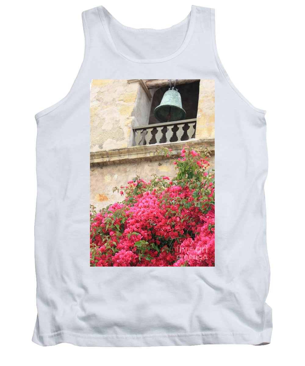 Carmel-by-the-sea Tank Top featuring the photograph Carmel Mission Bell by Carol Groenen