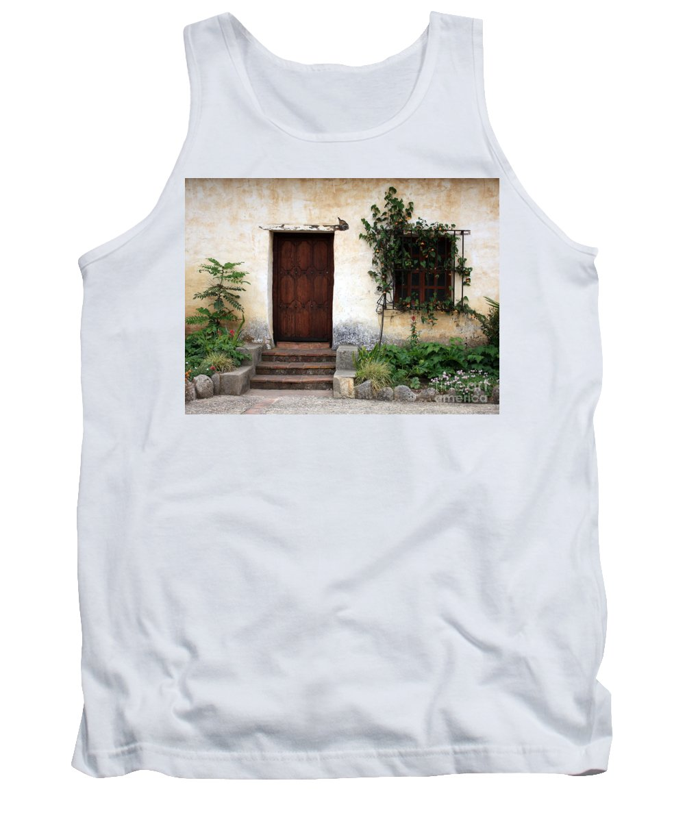 Carmel Mission Tank Top featuring the photograph Carmel Mission Door by Carol Groenen