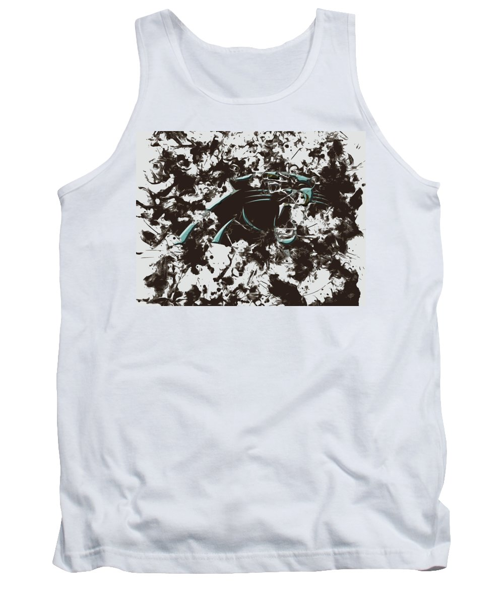 Carolina Panthers Tank Top featuring the mixed media Carolina Panthers 1b by Brian Reaves