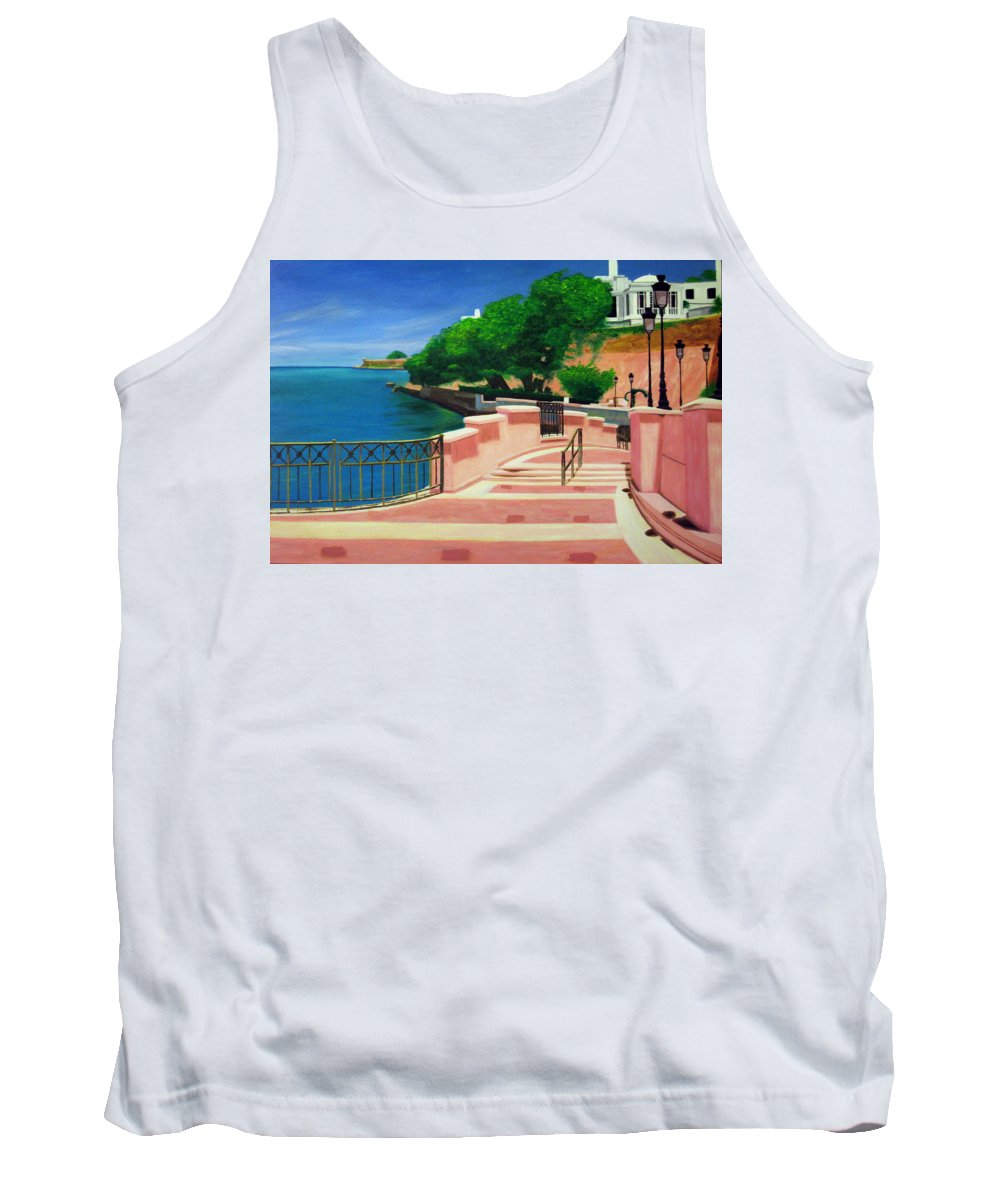 Landscape Tank Top featuring the painting Casa Blanca - Puerto Rico by Tito Santiago