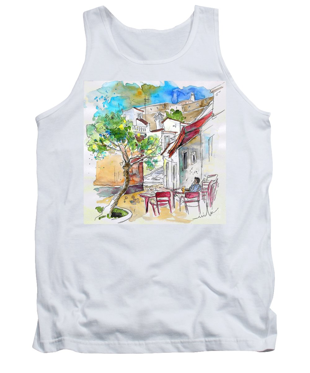 Water Colour Travel Sketch Castro Marim Portugal Algarve Miki Tank Top featuring the painting Castro Marim Portugal 01 by Miki De Goodaboom
