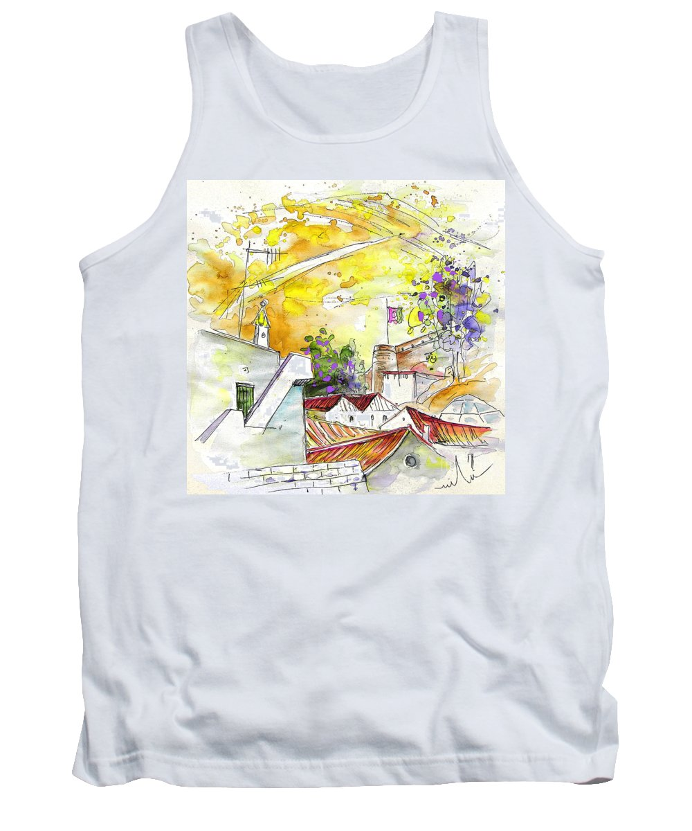 Water Colour Travel Sketch Castro Marim Portugal Algarve Miki Tank Top featuring the painting Castro Marim Portugal 03 by Miki De Goodaboom