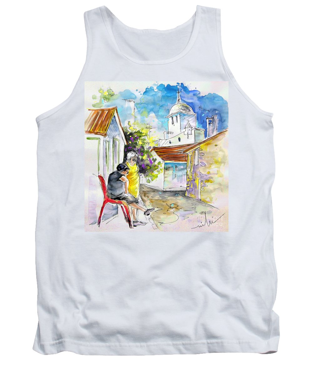Water Colour Travel Sketch Castro Marim Portugal Algarve Miki Tank Top featuring the painting Castro Marim Portugal 04 by Miki De Goodaboom
