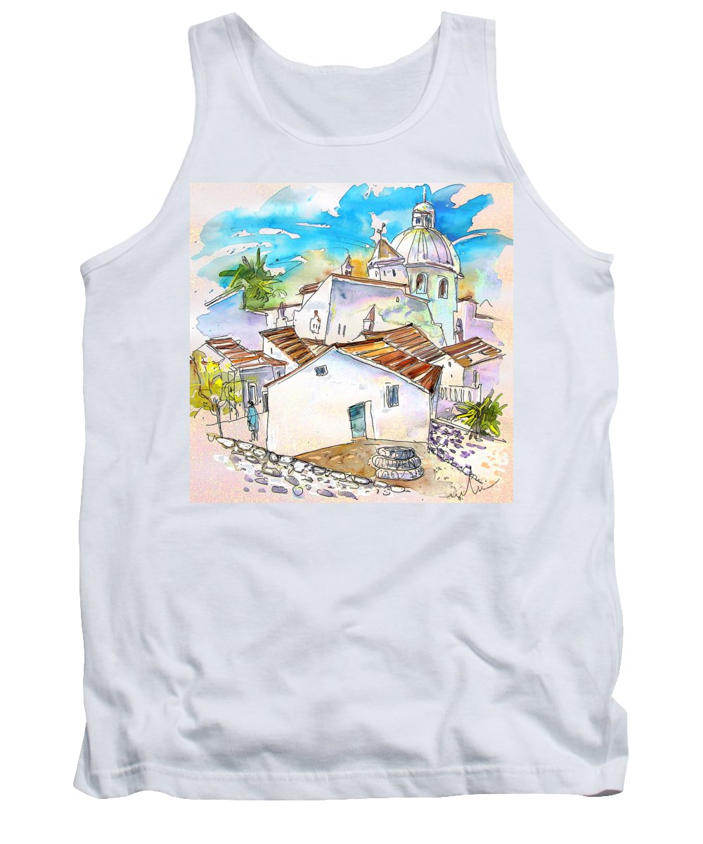 Water Colour Travel Sketch Castro Marim Portugal Algarve Miki Tank Top featuring the painting Castro Marim Portugal 05 by Miki De Goodaboom