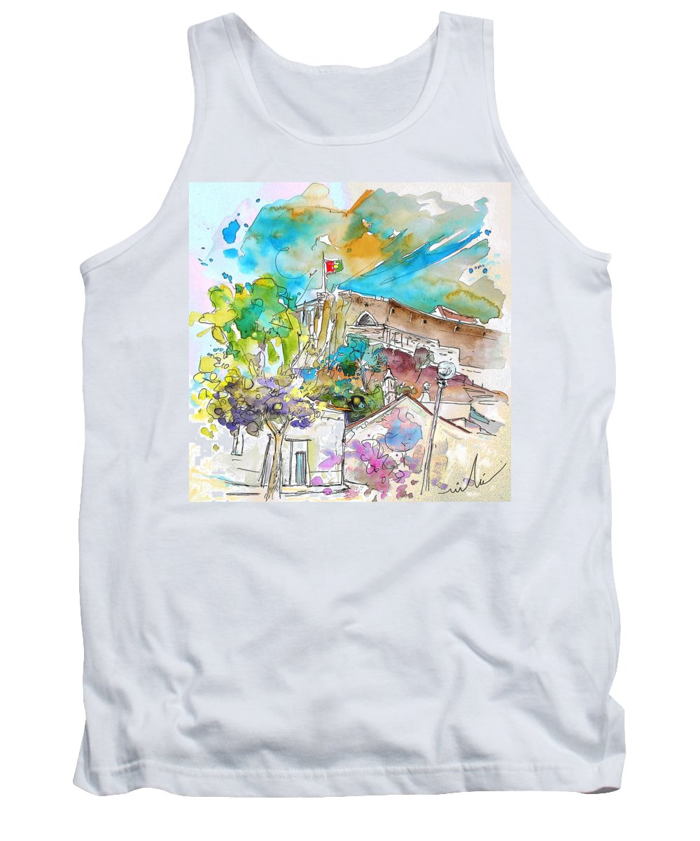 Castro Marim Portugal Algarve Painting Travel Sketch Tank Top featuring the painting Castro Marim Portugal 10 by Miki De Goodaboom