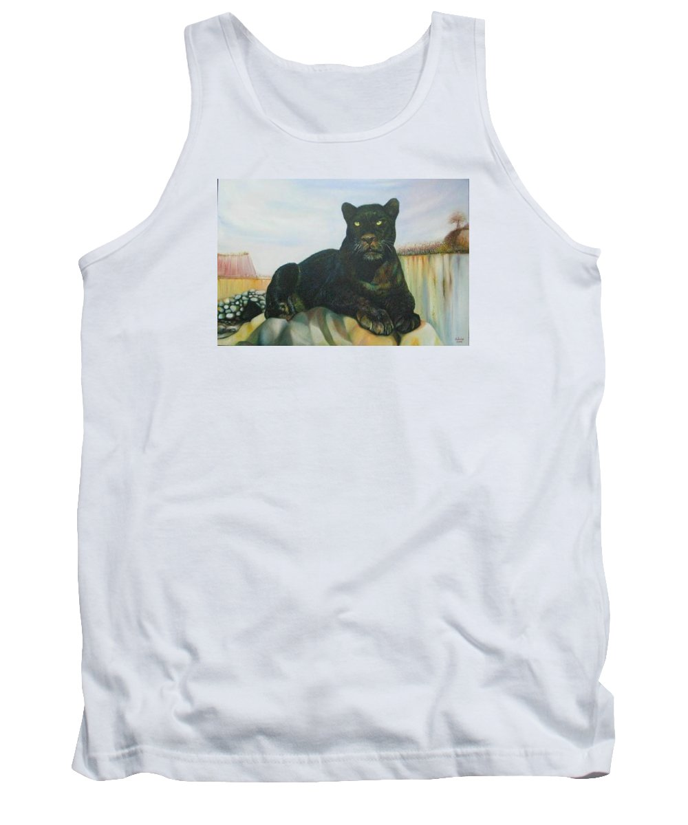 Cat Tank Top featuring the painting Cat And The Cave by Sukalya Chearanantana