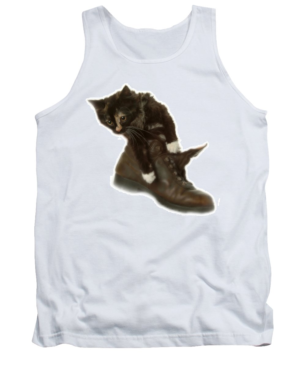 Tank Top featuring the photograph Cat In Boot by Cliff Norton