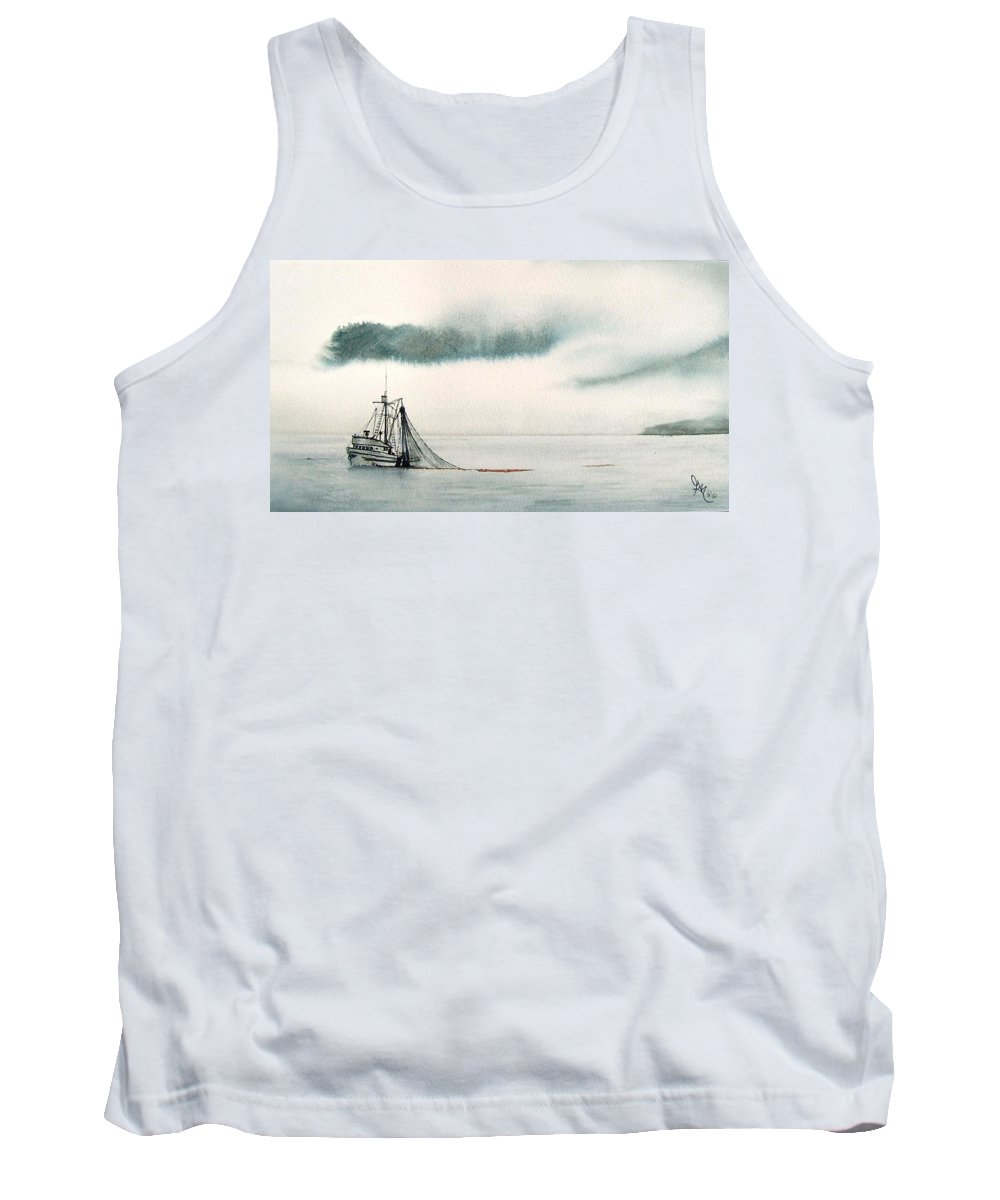 Fishing Boat Tank Top featuring the painting Catch Of The Day by Gale Cochran-Smith