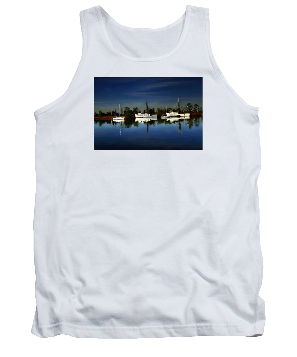 Shrimp Boat Tank Top featuring the photograph Catching The Morning Tide by Larry Mccrea