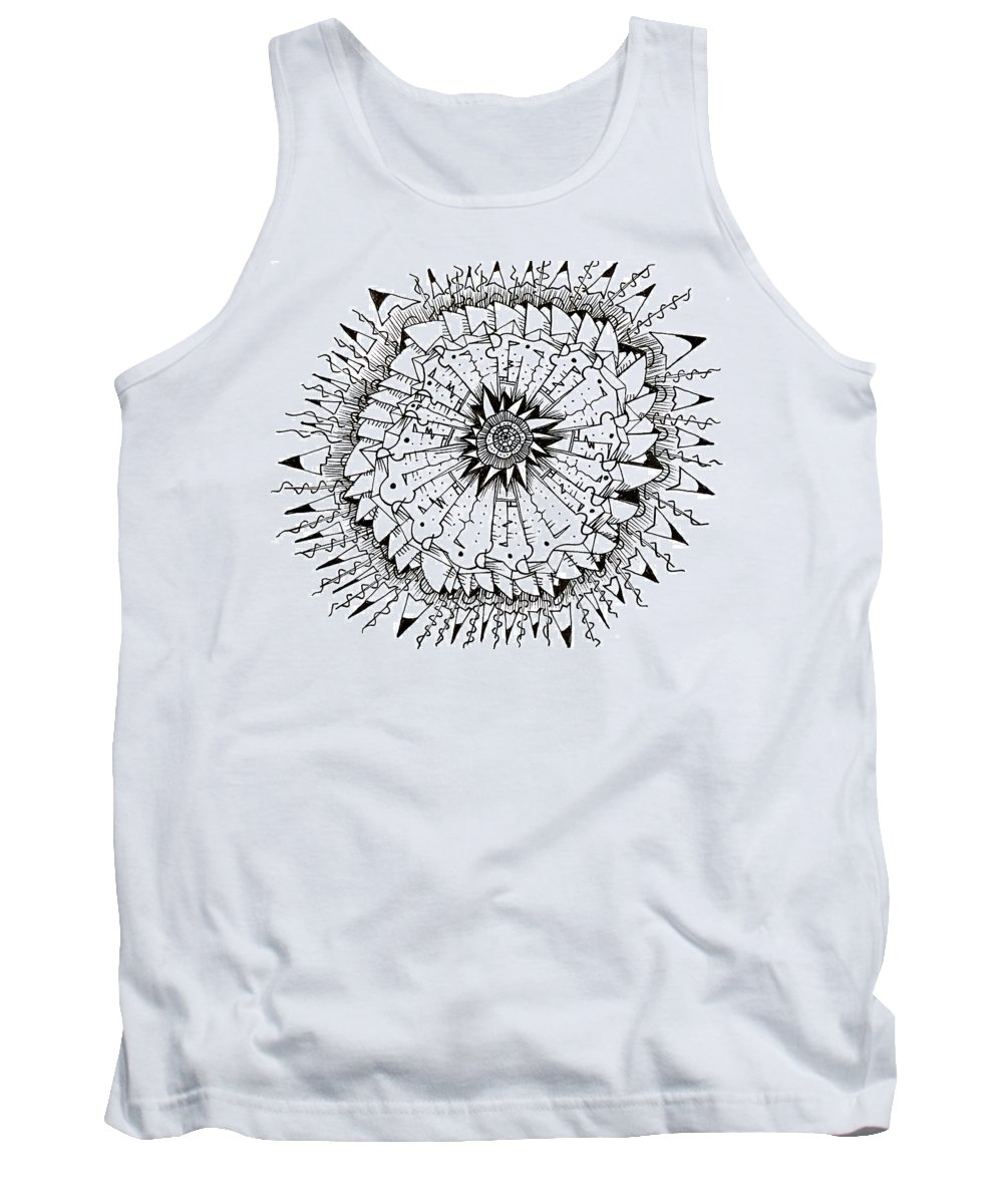 Abstract Tank Top featuring the drawing Cell by Daniel Rustad