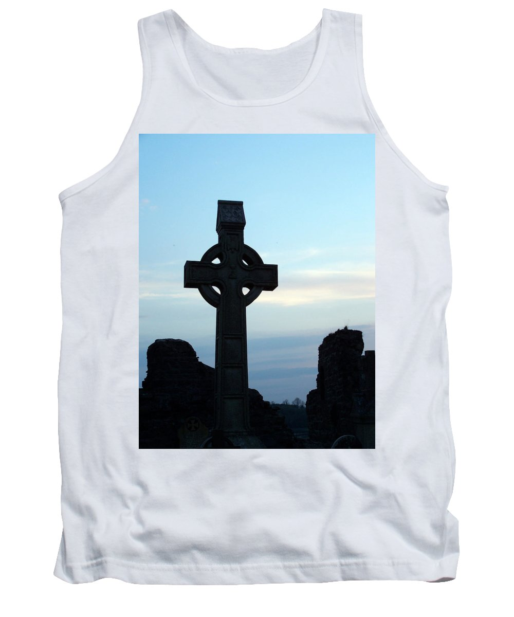 Irish Tank Top featuring the photograph Celtic Cross At Sunset Donegal Ireland by Teresa Mucha