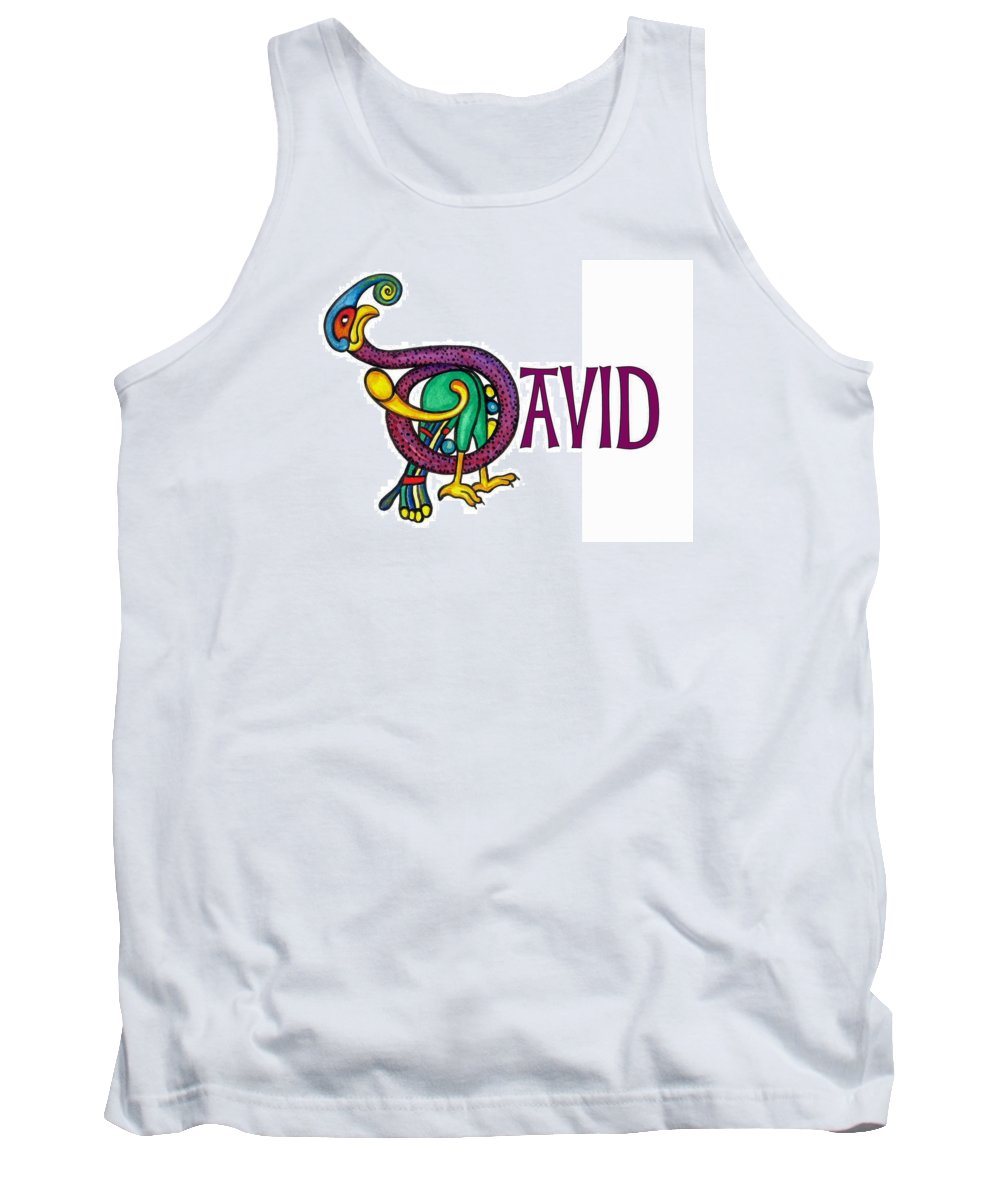 Celtic Tank Top featuring the painting Decorative Celtic Name David by Frances Gillotti