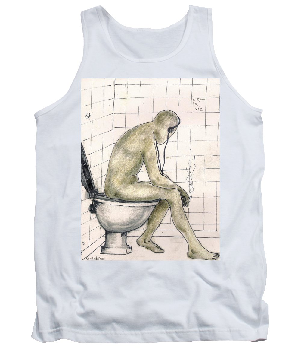 Life Naked Music Tank Top featuring the drawing C'est La Vie by Veronica Jackson