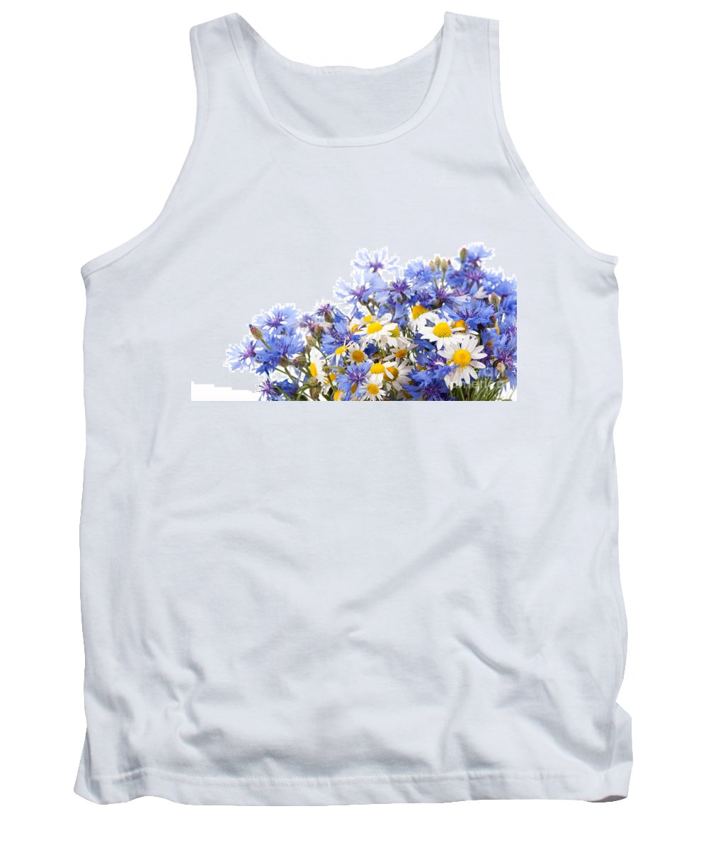 Bachelor Tank Top featuring the photograph Chamomile And Cornflower Mix by Arletta Cwalina