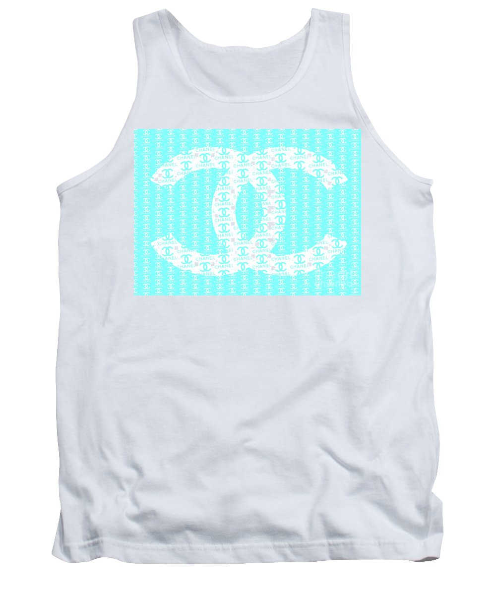 Chanel Logo Tank Top featuring the mixed media Chanel Logo Blue Teal White by Del Art