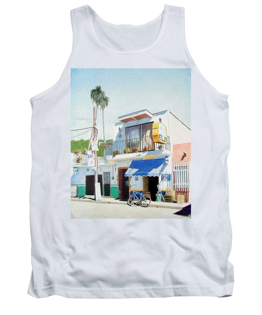 Trees Tank Top featuring the mixed media Chapala Store by Constance Drescher