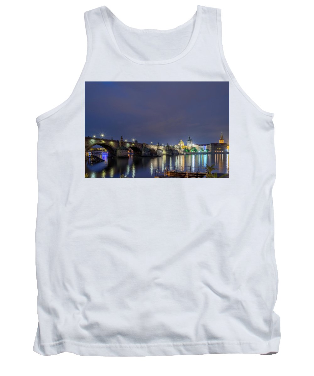 Statue Tank Top featuring the photograph Charles Bridge At Night by Michael Garner