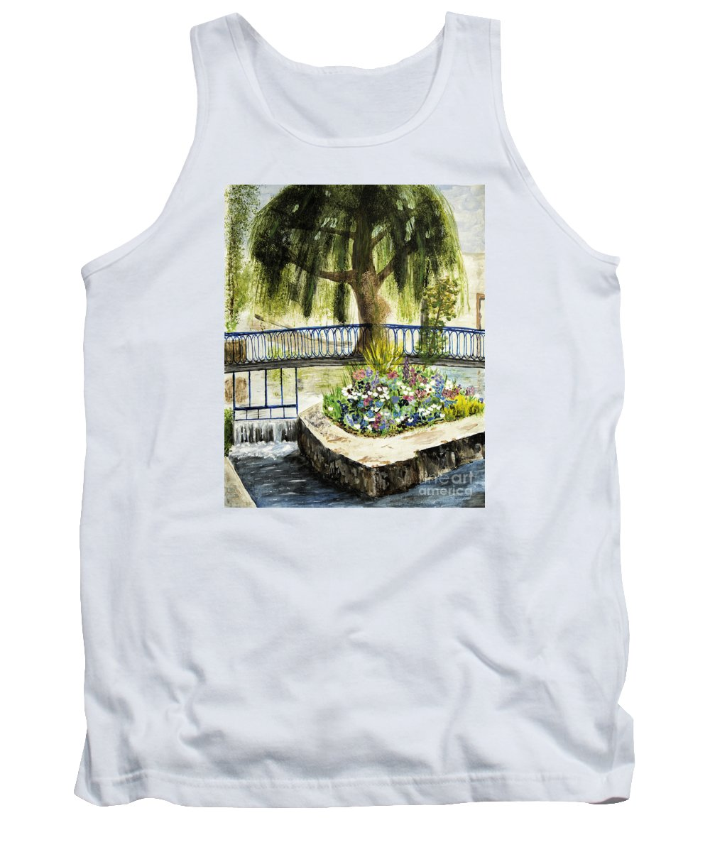 France Tank Top featuring the painting Chartres France Scene by Timothy Hacker