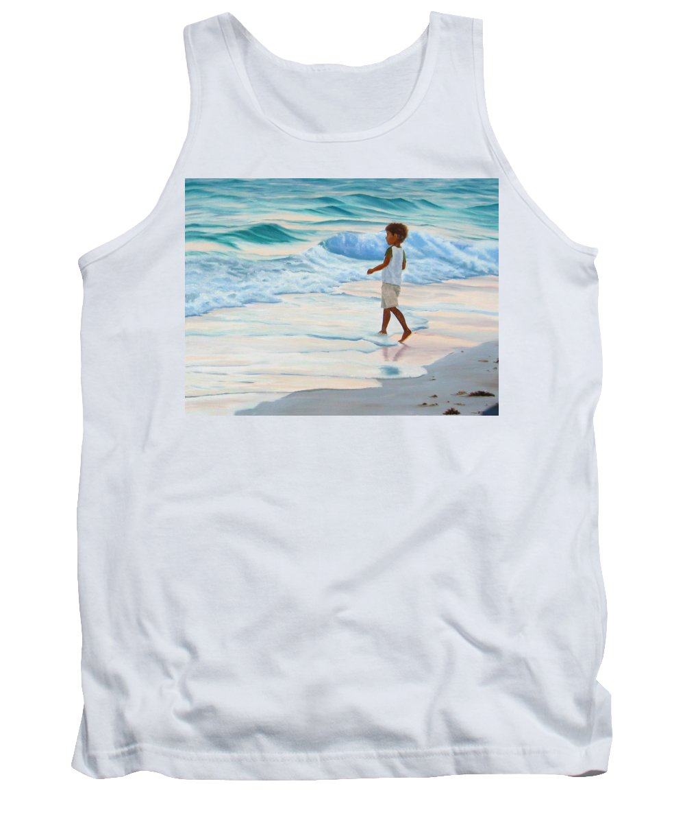 Child Tank Top featuring the painting Chasing the Waves by Lea Novak