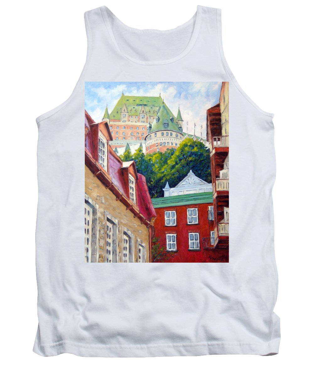 Town Tank Top featuring the painting Chateau Frontenac 02 by Richard T Pranke