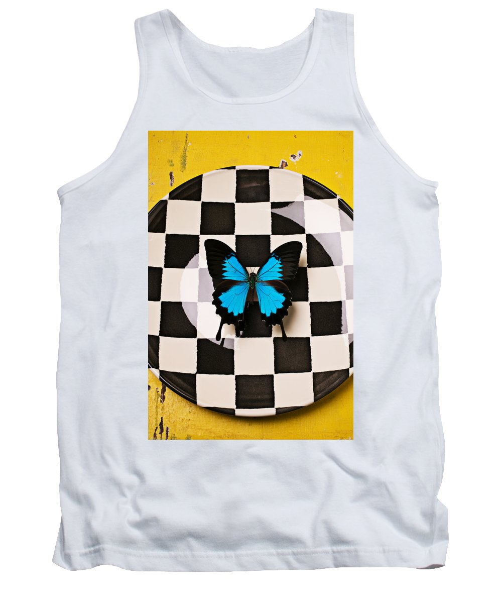 Blue Tank Top featuring the photograph Checker Plate And Blue Butterfly by Garry Gay