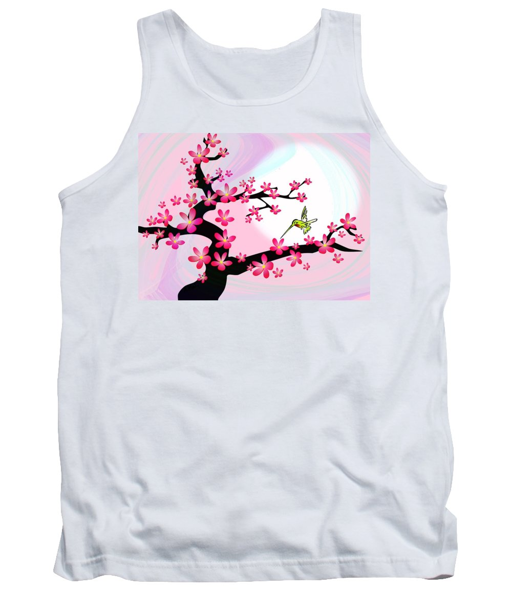 Cherry Tank Top featuring the digital art Cherry Tree by Anastasiya Malakhova