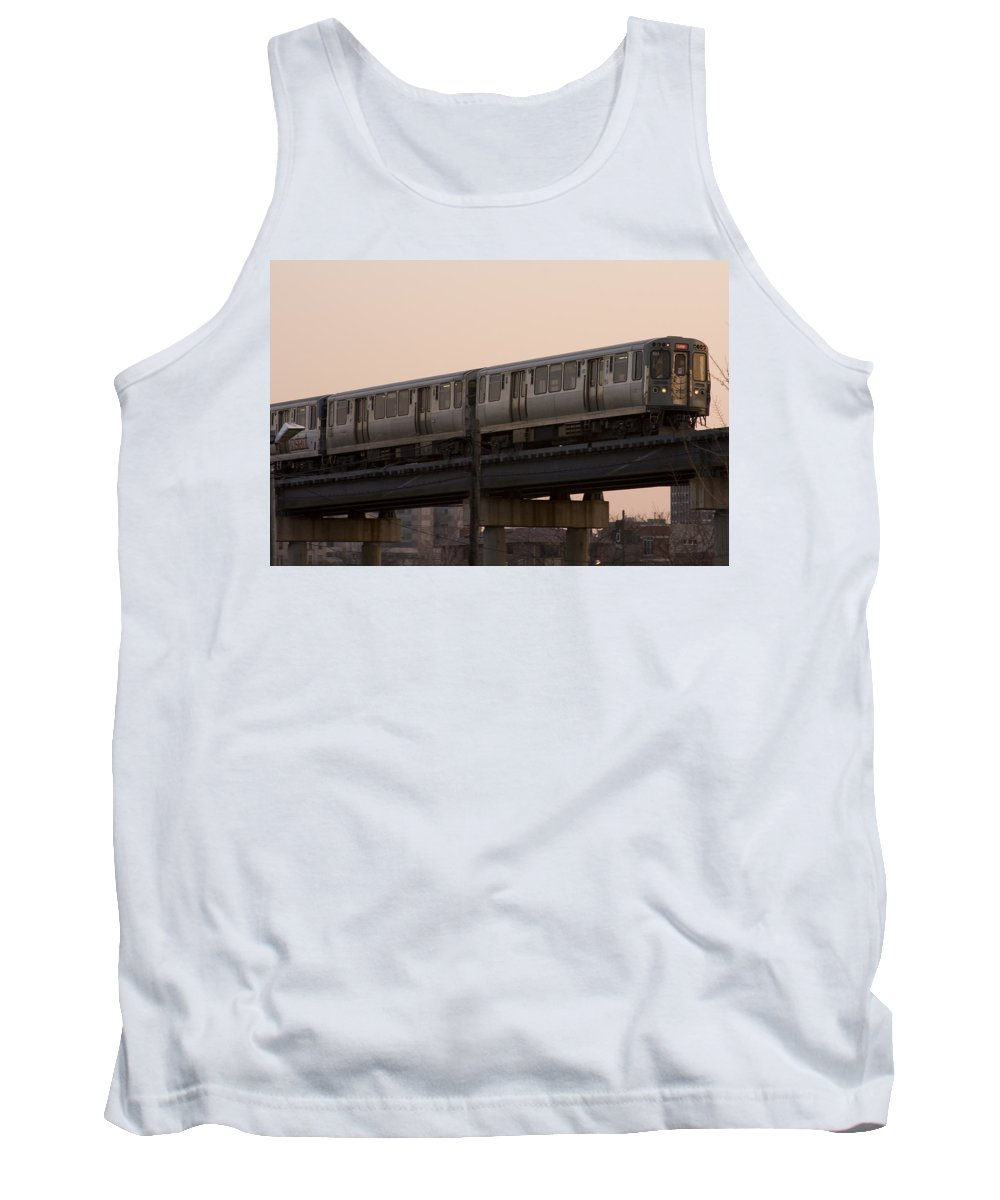 Chicago Windy City El Elevated Train Urban Metro Passanger Transport Transportation Tank Top featuring the photograph Chicago El by Andrei Shliakhau