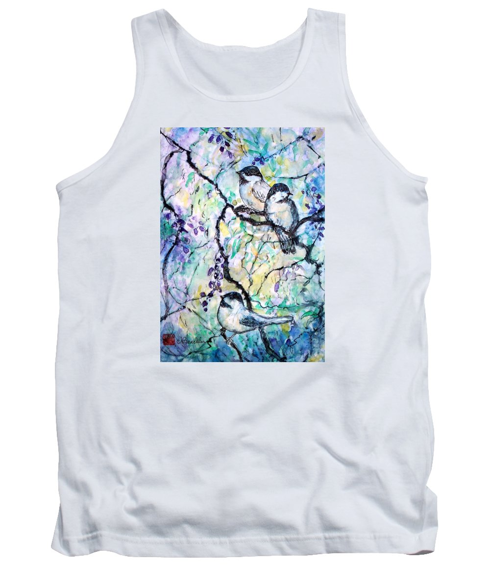 Birds Tank Top featuring the painting Chickadees by Norma Boeckler