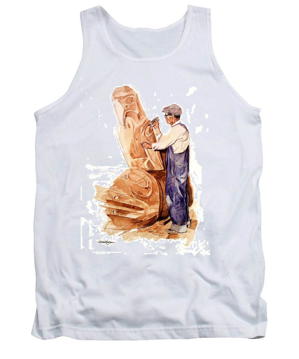 Totem Poles Tank Top featuring the painting Chief Mungo Martin Totem Carver by David Lloyd Glover