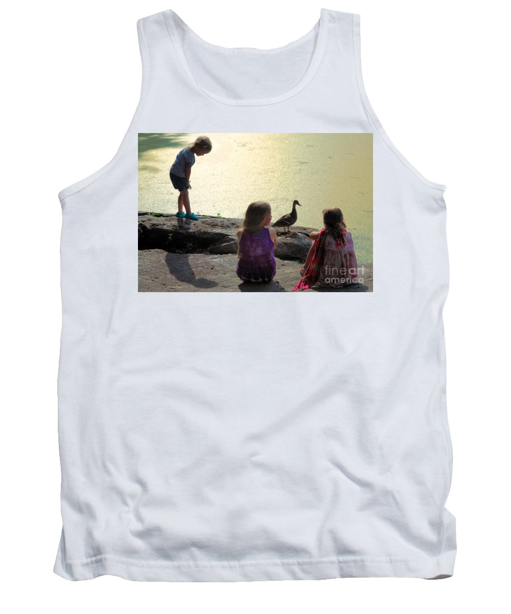 Children Tank Top featuring the photograph Children At The Pond 1 by Madeline Ellis