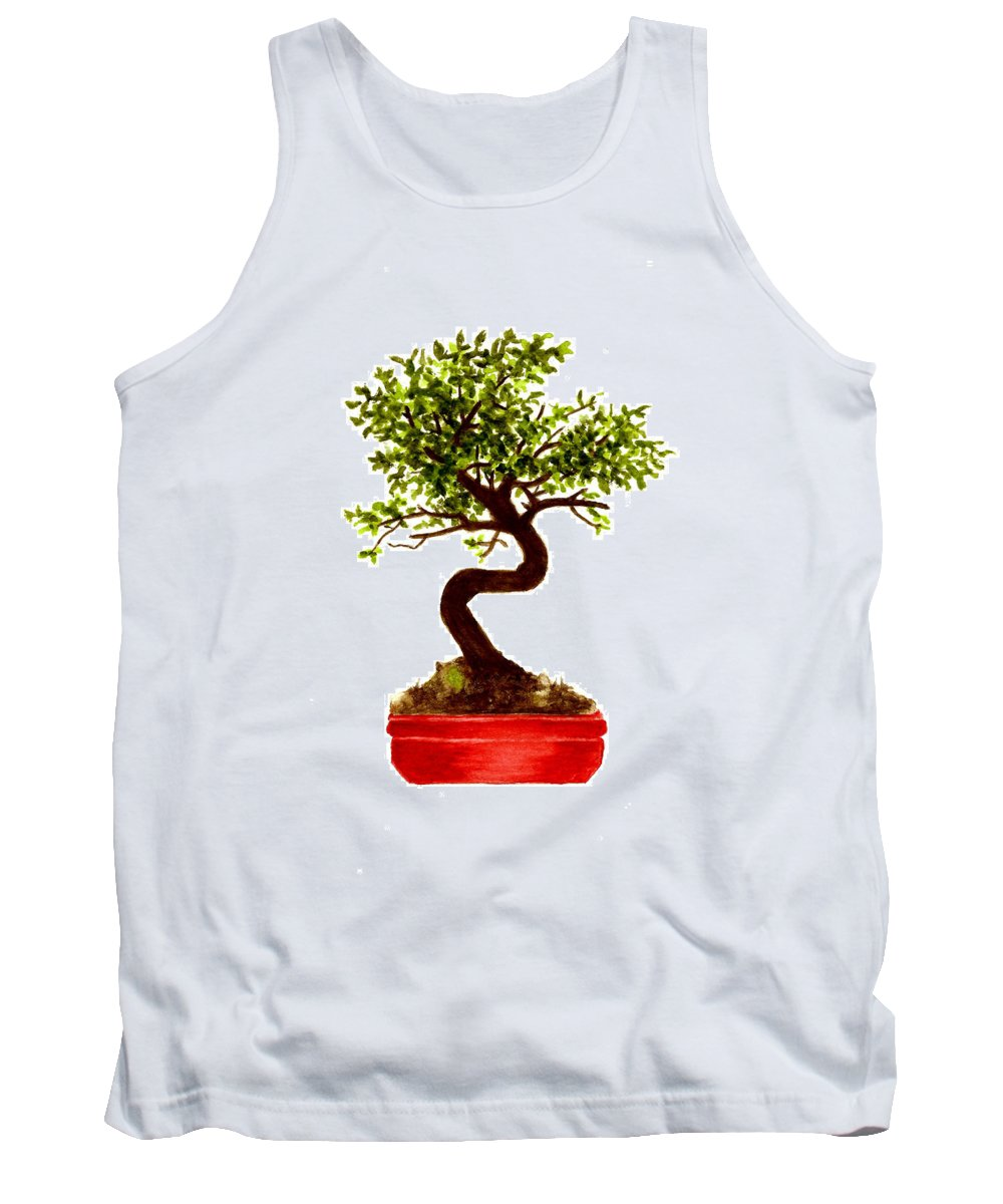 Tree Tank Top featuring the painting Chinese Elm Bonsai Tree by Michael Vigliotti