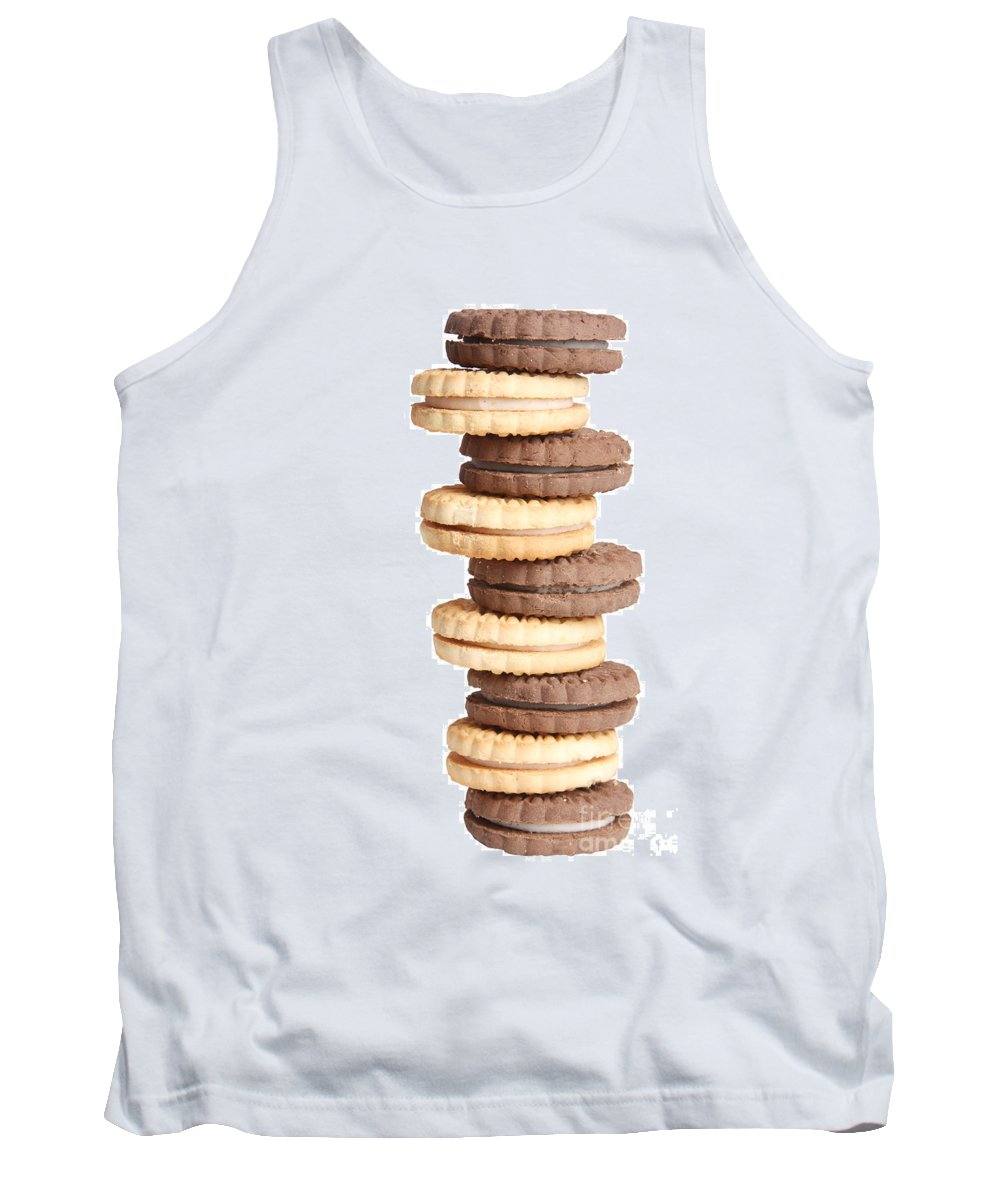 Cookies Tank Top featuring the photograph Chocolate And Vanilla Creamed Filled Cookies by James BO Insogna