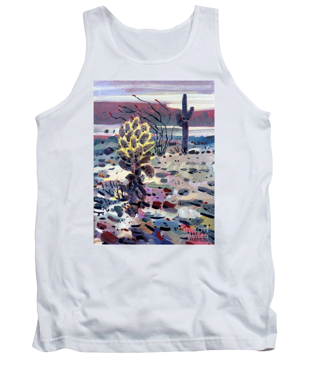Cholla Tank Top featuring the painting Cholla Saguargo And Ocotillo by Donald Maier